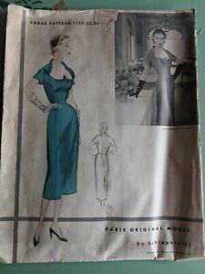 Vintage 1952 Schiaparelli Vogue Paris Original Model Cocktail Dress Pattern MCM