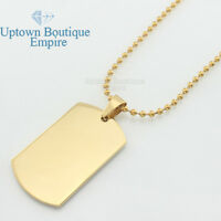 """MEN Stainless Steel Gold MILITARY id Dog tag 16"""" to 30"""" Ball chain Necklace link"""