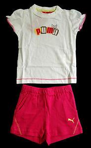 PUMA-Kinder-Maedchen-2-teiliges-Set-Sommer-Shirt-kurze-Hose-weiss-pink-Gr-86