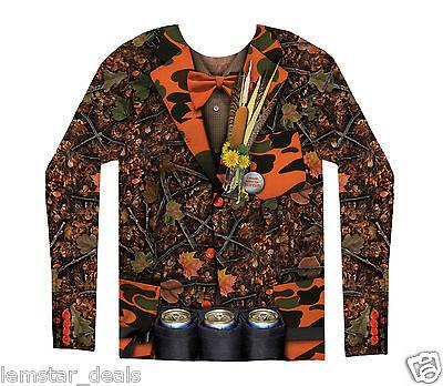 FauxReal Camo Tuxedo Long Sleeve Shirt or Halloween Costume Redneck Hunting  NWT