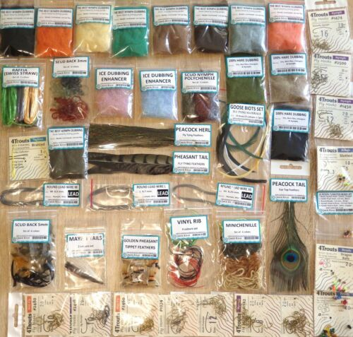 NYMPH WET FLY TYING HUGE KIT Set of Fly tying nymph/&wet materials for beginners