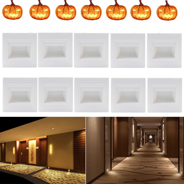 10er 0,6W 230V LED Wandeinbauleuchte Strahler Stufe Treppenlicht Außen warmweiß | Günstige Preise  | Feinen Qualität  | Ruf zuerst