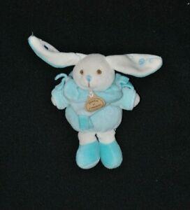 Peluche-lapin-bonbon-DOUDOU-ET-COMPAGNIE-blanc-bleu-2-tons-14-cm-NEUF