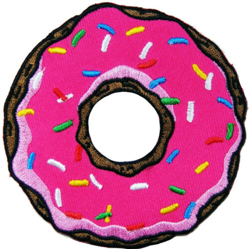 Doughnut Donut Food Sweet Pink Chocolate Strawberry Toppings Iron-On Patch #F019