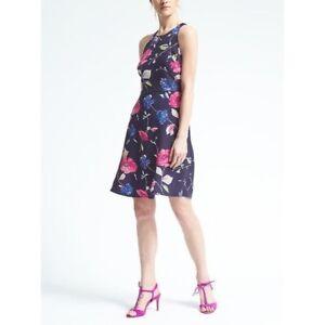 Banana-Republic-Womens-Dress-Size-4-Racerback-Blue-Floral-A-line-Fit-Flare-F6