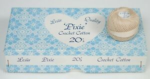Lesur-Pixie-20s-Ecru-Crochet-Thread-100-Cotton-20g-Lot-X-10-Balls-Box-Vintage