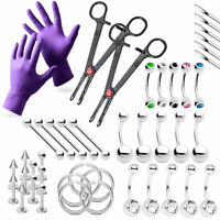 Professional Piercing Kit All In One 43pc Gloves, Needles, Tool Body Jewelry