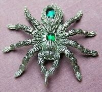 Tarantula Spider Pewter & Emerald Pendant, Gothic Wicca