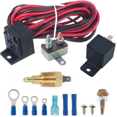 American Volt Ground Thermostat Switch Electric Radiator Cooling Fan Coolant Temperature Sender Thread-in Kit for Cars and Trucks 1//8 NPT, 140F On - 125F Off