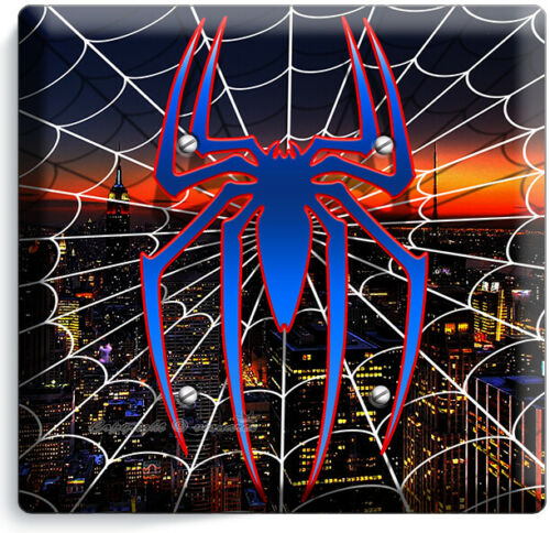 SPIDER MAN WEB OVER NEW YORK NIGHT SKYLINE LIGHT SWITCH OUTLET PLATES ROOM DECOR