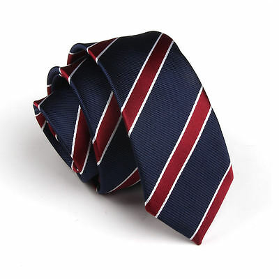 Fashion Navy Red Striped Wedding Neck Tie Necktie Narrow Slim Skinny SK286