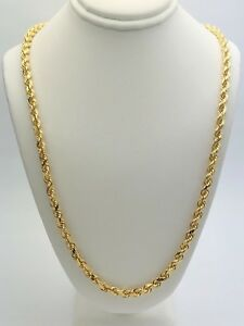 "14k Yellow Gold Solid Diamond Cut Rope Chain Necklace 22"" 4.5mm 40.2 grams"
