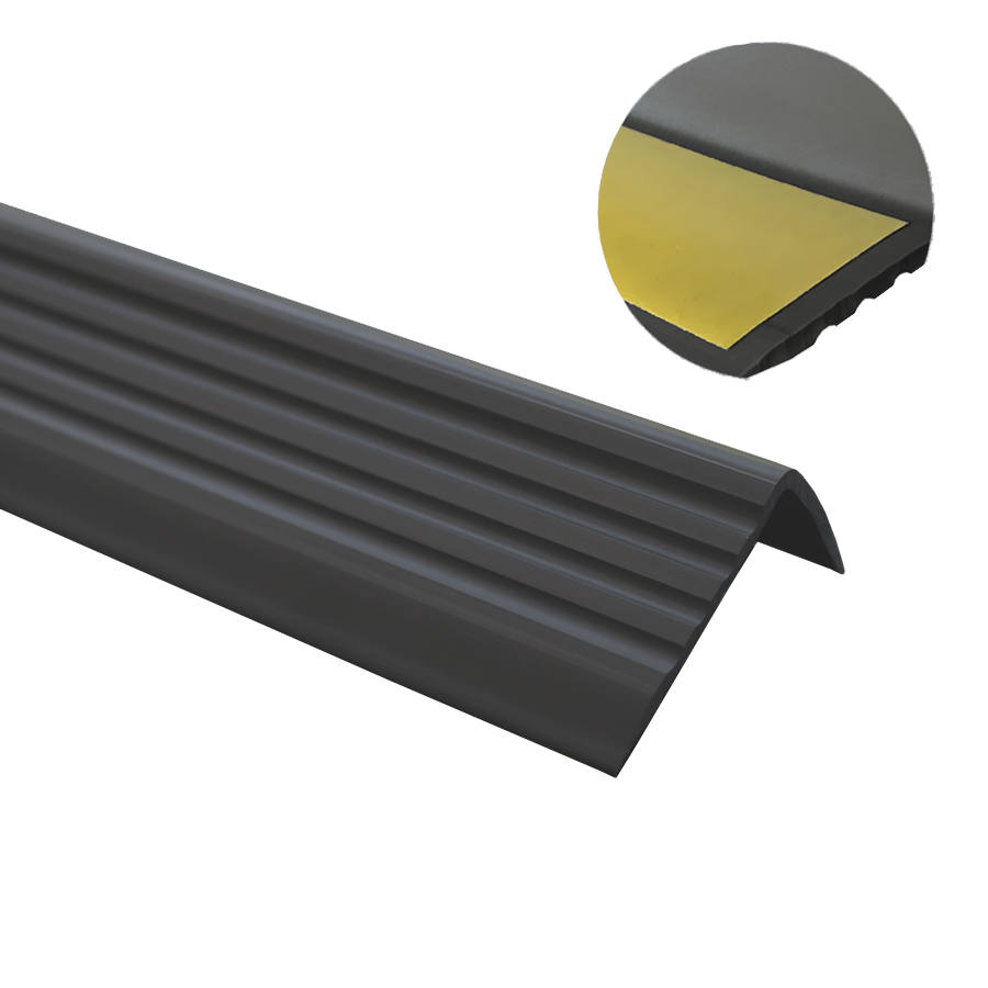 100CM QUEST Treppenkantenprofil SELBSTKLEBEND PVC Gummi Kantenschutz 40x25 CREMEFARBEN