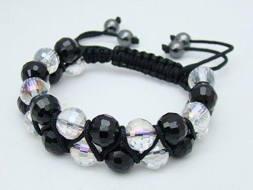Men/'s Black Shamballa gemstone bracelet all 10mm CRYSTAL STONE  beads no metal