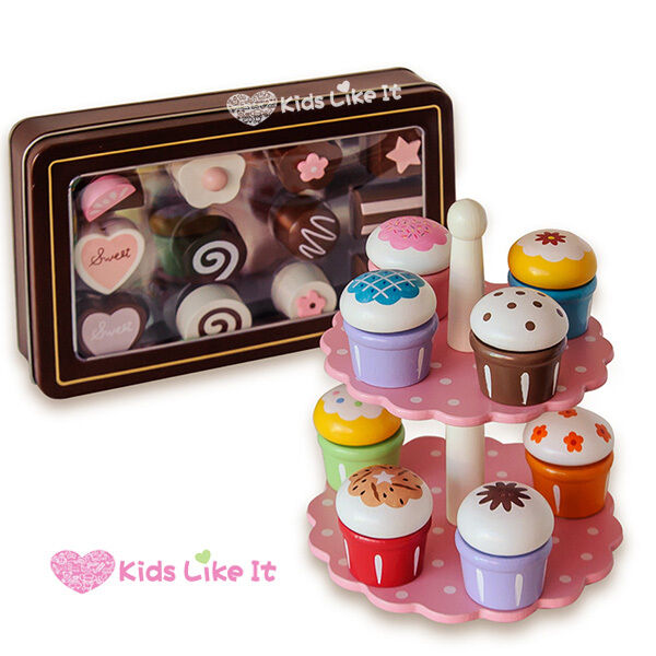 SET of Girls Wooden HIGH TEA Sweets Chocolate CUP CAKES Pretend PLAY TOY Tin BOX
