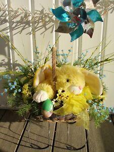 Blue-Babys-Breath-Pinwheel-Easter-Bunny-N-Basket-Cemetery-Grave-Tombstone-Saddle