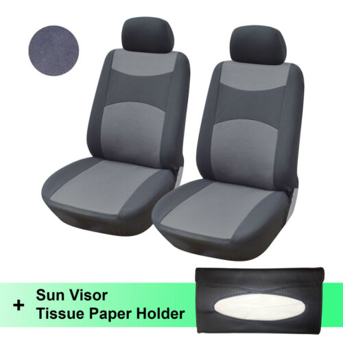Two Fabric Front Car Seat Covers 160G with Black Sun Visor Tissue Holder