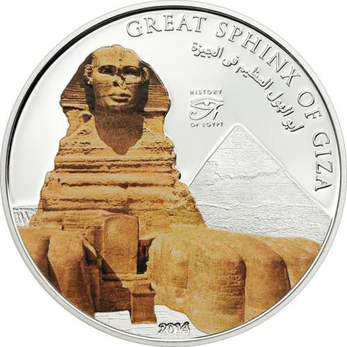 Cook Islands 2014 $5 History of Egypt Great Sphinx of Giza 20g Silver Proof Coin