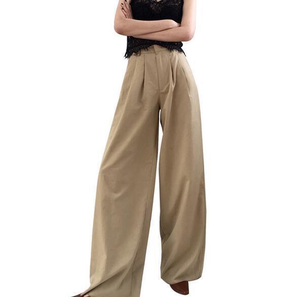 Womens Korean Causal Straight Pants Trouses High Waist Wide Leg Loose Fashion