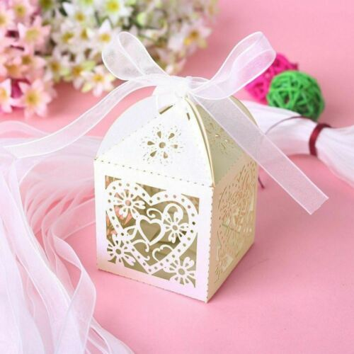 25 Love Heart Laser Cut Candy Gift Box With Ribbon Wedding Party Favor Ivory