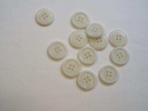 10pc 15mm Bone White Mock Horn Bone Shirt Suit Cardigan Knitwear Button 3927