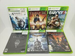 Lot-Of-6-Xbox-360-Games-Resident-Evil-Batman-Skyrim-Fable-3-Farcry-3-Assassi
