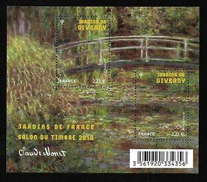 Bloc-Feuillet-2010-N-F4479-Timbres-Jardins-de-France-Salon-du-Timbre-2010