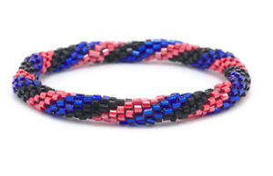 Ehrgeizig Sashka Co Blau Schwarz Rot Glas Perlen Rolle Armband Fair Trade K3 +