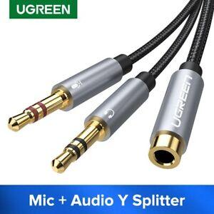 Ugreen-Audio-Headphone-Mic-Splitter-Cable-3-5mm-Female-to-2-Dual-Male-Fr-Speaker