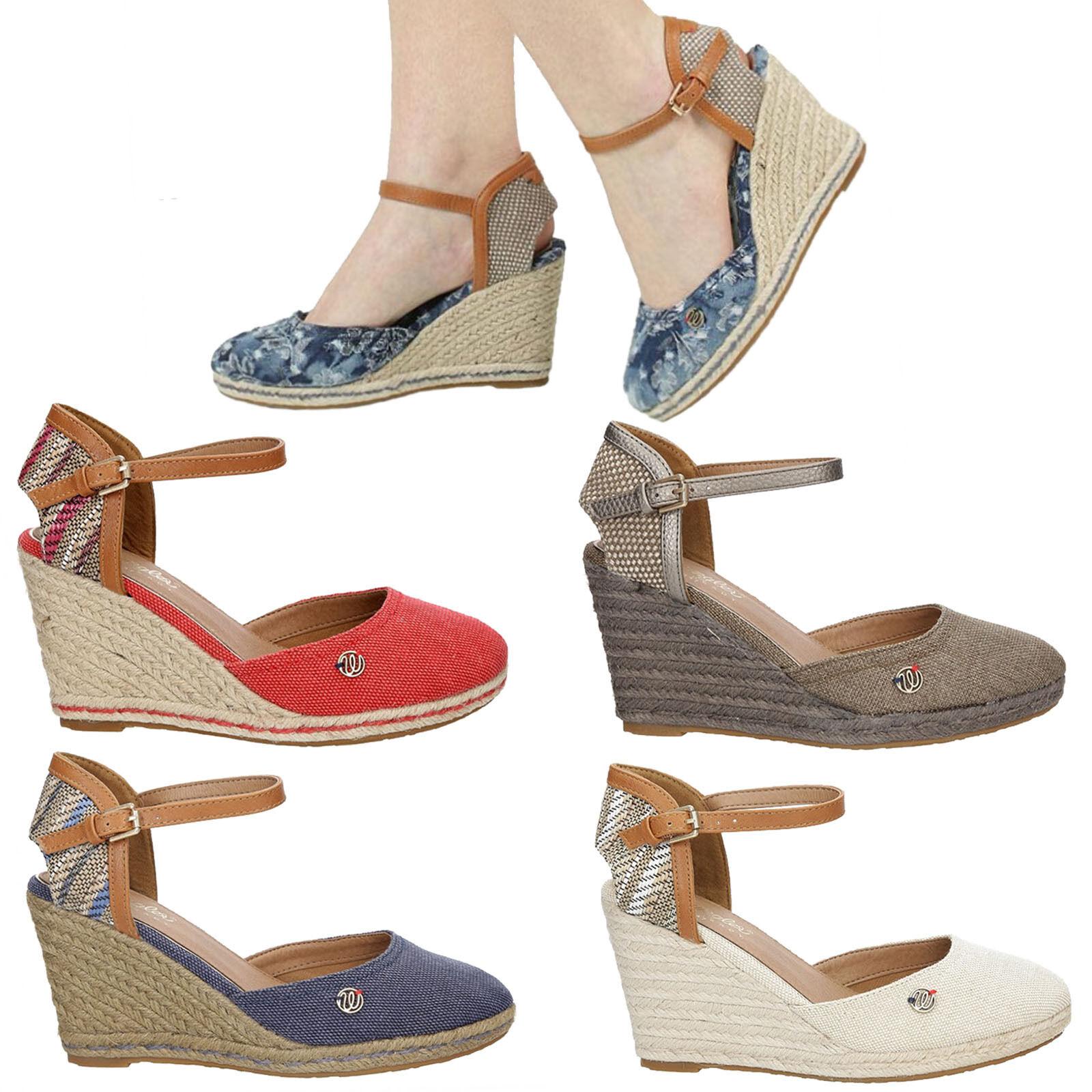Damen Sandaletten Wrangler Wl171610 Keilabsatz Sommer Riemchen Gr. 36-40 SALE