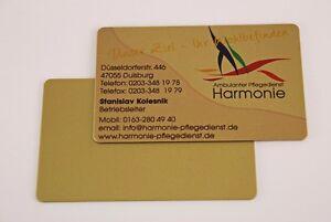 Details Zu Plastikkarten Visitenkarten Pvc Karten Farbe Gold Einseitig Farbig Bedruckt