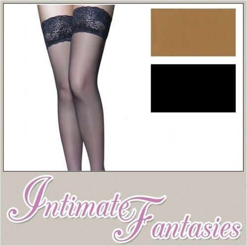 BLACK Lace Top Hold Up calze Tan Taglie 14 16 18 20 22 Grande coscia alta