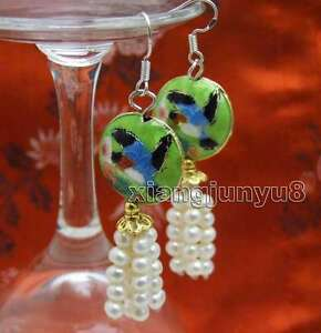 4-5mm-White-Round-Natural-Pearl-with-18mm-Green-Cloisonne-Dangle-earring-ear524