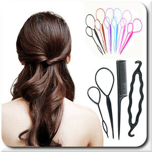 Beauty & Gesundheit Set Topsy Tail 4 Elemente Füllstoff Haarknoten Knotenrolle Kokpin 3 Farben Blau