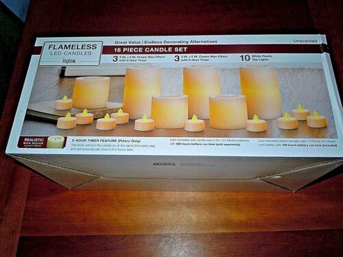 Set 16 Flameless LED Candles Inglow Tea Lights /& Pillars /& Remote Unscented NIB