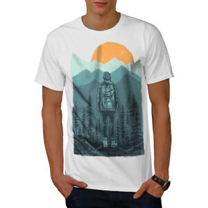 Wellcoda-SUNSET-Wilderness-CAMP-Da-Uomo-T-shirt-Wild-design-grafico-stampato-T-shirt