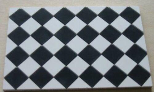1//12th Blanco y Negro Cuadrado cantera Azulejos-Casa De Muñecas