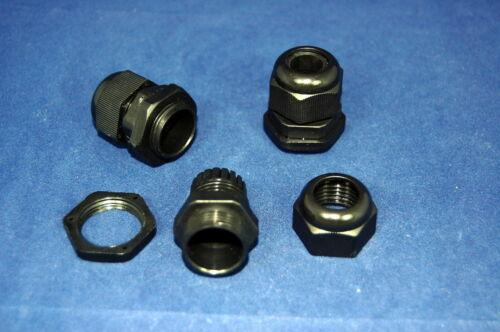 4~8mm BLACK Nylon 66 94V-2 100PCS PG9 Waterproof  Cable Connector Gland Dia