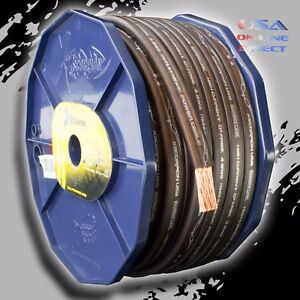 4 Gauge 80 Ft Roll Black Power Ground Ofc Wire Copper Flat Marine