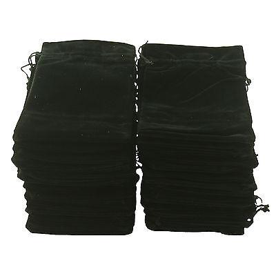 50 Black Velvet Luxury Jewellery Gift Pouches 7cm x 9cm