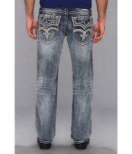 Nouveau-Homme-Rock-Revival-Tucker-Slim-Bootcut-Denim-Jeans-30-31-32-33-38