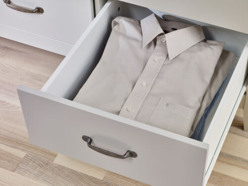 Tallboy with Oak Style Top Balham Grey Painted 5 Drawer Narrow Slim Chest
