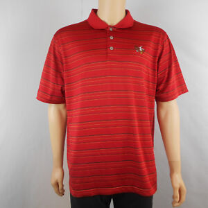 Adidas-Mens-Climacool-Short-Sleeve-Polo-Shirt-Red-Twin-Eagles-Golf-L-Large