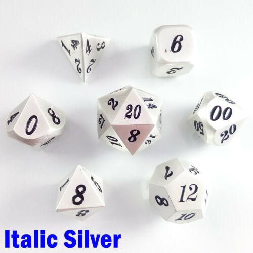 Metal Poly 7 Dice RPG Set Solid Italic Silver Heavy Zinc Alloy Pathfinder 5e D/&D