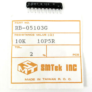20x SMTEK: 10K OHM 2% 10P5R SIP-10 RESISTOR Network Array RB-05103G Isolated NOS
