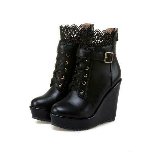 Fashion Women/'s Buckle Strap Lace Up Wedge High Heel Platform Ankle Boots Shoes
