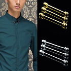 Men Shirt Collar Bar Pin Clip Chain Tie Brooch Neckties Silver/Gold Gift Fashion