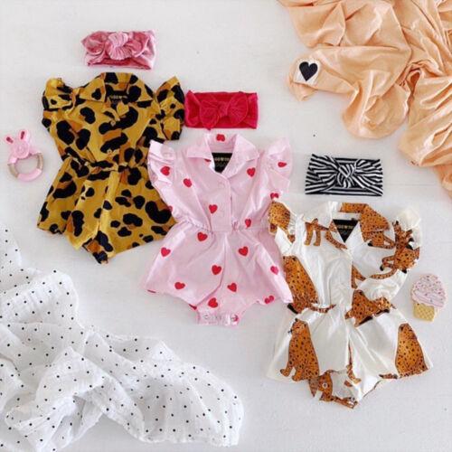 Newborn Baby Girl Flower Ruffle Blouse Romper Bodysuit Jumpsuit Outfits Sunsuit