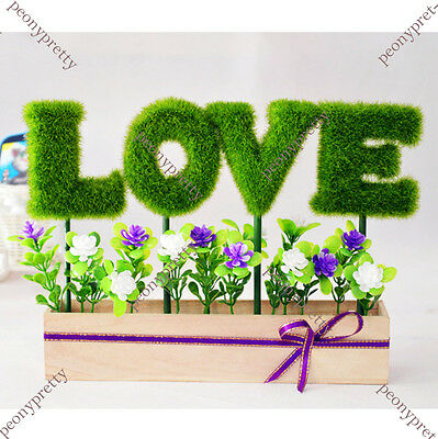 DIY artificial fake LOVE plant grass flower pot home wedding decor propose gift