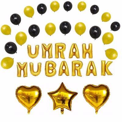 """Gold UK SELLER NIKKAH MUBARAK 16/"""" Letter Foil Balloons"""